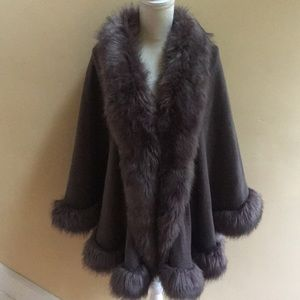 Outerwear gray faux fur trim wrap cape